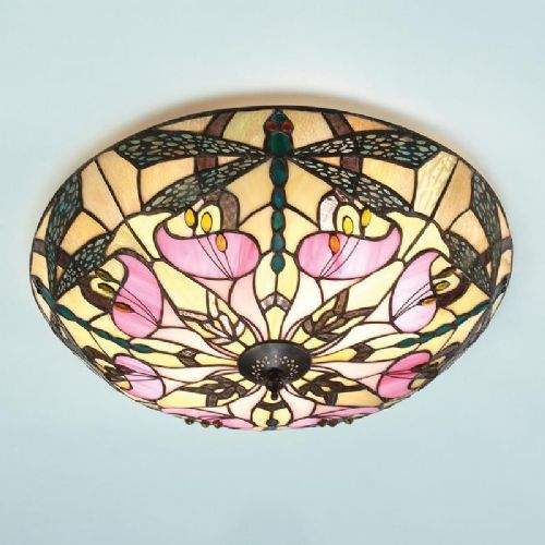 Ashton Flush Ceiling Light (Art Nouveau, Nature, Flush Fitting) T022FL (Tiffany style)